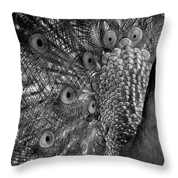 Throw Pillow featuring the photograph Peacock Bw by Ron White