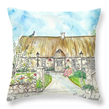 House Portrait Peacock Cottage Kanturk County Cork Ireland Throw Pillow