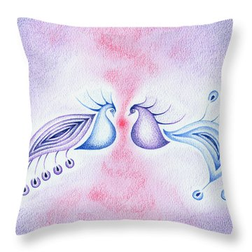 Peacock Dance Throw Pillow by Keiko Katsuta