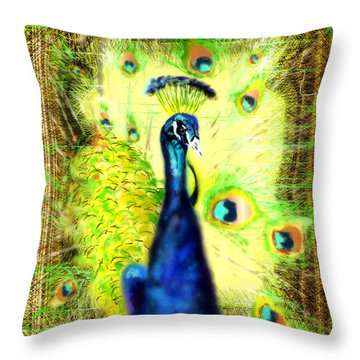 Throw Pillow featuring the drawing Peacock by Daniel Janda