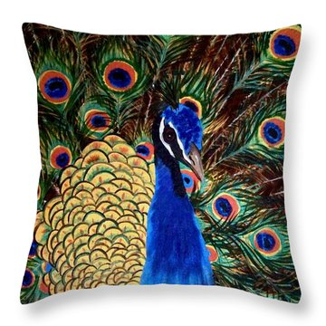 Peacock Throw Pillow by Debbie LaFrance