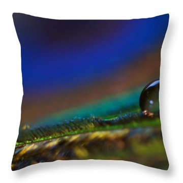 Peacock Drop Throw Pillow by Lisa Knechtel