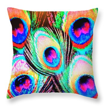 Peacock Feather Collage Throw Pillow