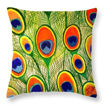 Peacock Feather Frenzy Throw Pillow by Renee Michelle Wenker