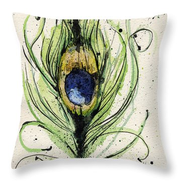 Peacock Feather Throw Pillow by Mark M  Mellon