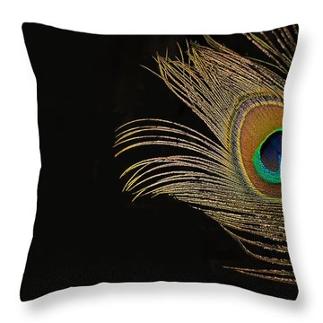 Throw Pillow featuring the photograph Peacock Feather Still Life by Lisa Knechtel