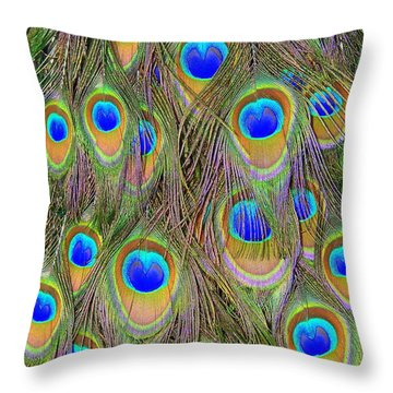 Throw Pillow featuring the photograph Peacock Feathers by Ramona Johnston