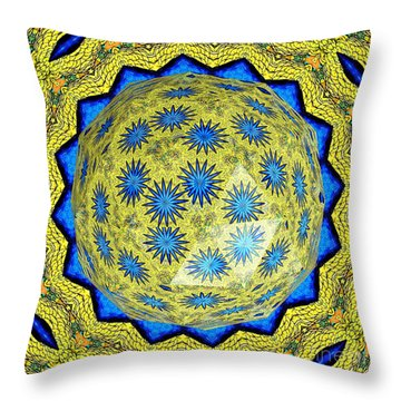 Peacock Feathers Under Polyhedron Glass 3 Throw Pillow by Rose Santuci-Sofranko