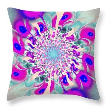Peacock Flower Throw Pillow by Anastasiya Malakhova