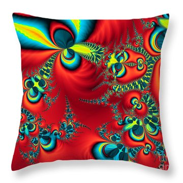 Peacock Fractal Throw Pillow by Ian Mitchell