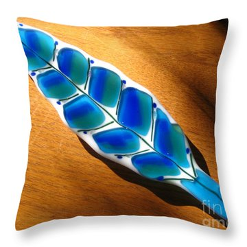 Peacock Fused Glass Leaf Throw Pillow by Donna Spencer