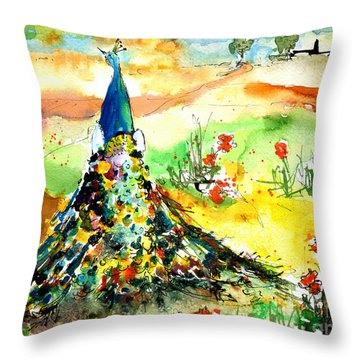 Peacock In The Wild Throw Pillow