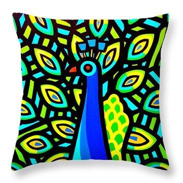 Peacock Iv Throw Pillow by John  Nolan