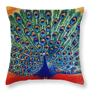 Throw Pillow featuring the painting Peacock By Jasna Gopic by Jasna Gopic