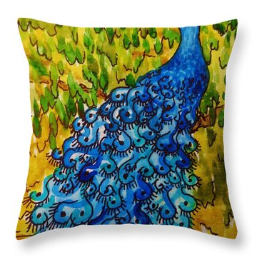 Throw Pillow featuring the painting Peacock by Katherine Young-Beck