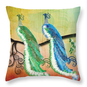 Throw Pillow featuring the digital art Peacock Love by Kim Prowse