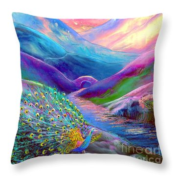 Peacock Magic Throw Pillow