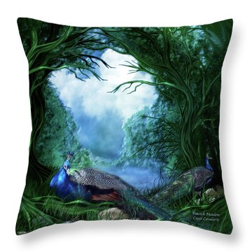 Throw Pillow featuring the mixed media Peacock Meadow by Carol Cavalaris