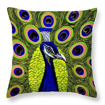 Peacock Mistique Throw Pillow by Adele Moscaritolo
