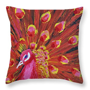 Peacock Throw Pillow by Patricia Olson