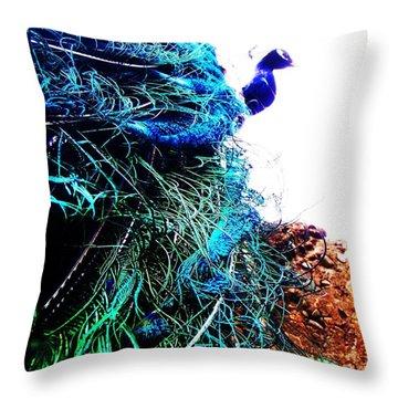 Peacock Portrait Throw Pillow