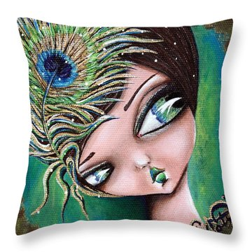 Peacock Princess Throw Pillow