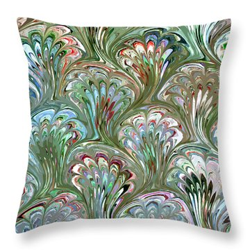 Peacock Shell Pattern Abstract Throw Pillow by Karon Melillo DeVega