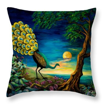 Peacock Strolls On The Beach Throw Pillow by Larry Martin