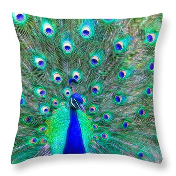 Peacock Textured Throw Pillow