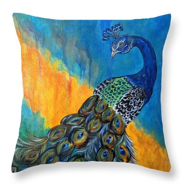 Peacock Waltz #3 Throw Pillow