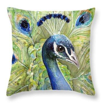 Peacock Watercolor Portrait Throw Pillow