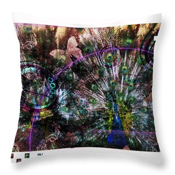 Throw Pillow featuring the digital art Peacock With Leftovers  by Nola Lee Kelsey