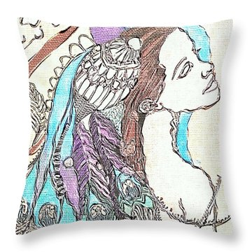 Peacock Woman 2 Throw Pillow by Amy Sorrell