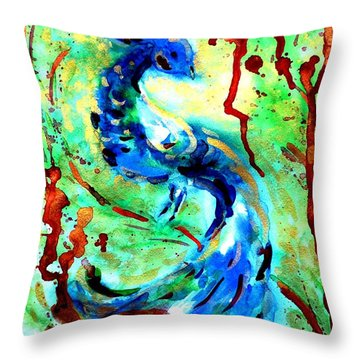 Peacock Throw Pillow by Zaira Dzhaubaeva