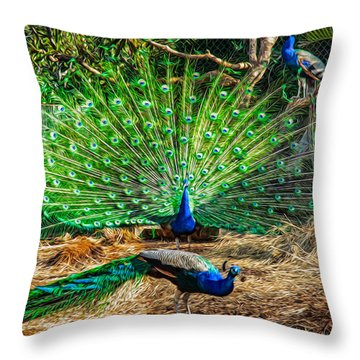 Throw Pillow featuring the painting Peacocking by Omaste Witkowski