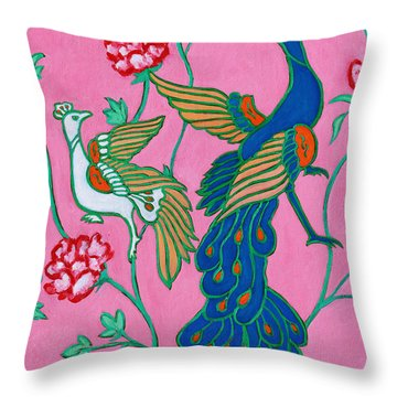 Peacocks Flying Southeast Throw Pillow by Xueling Zou