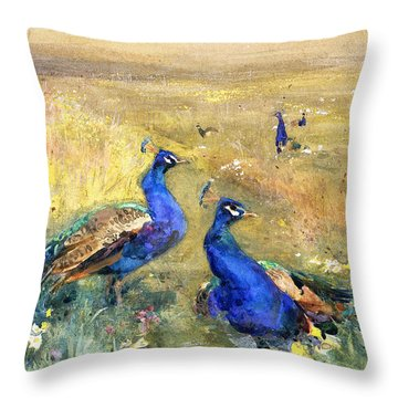 Peacocks In A Field Throw Pillow