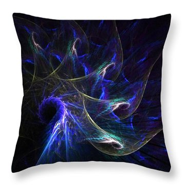 Peacock's Tail Feathers Throw Pillow by Nancy Pauling