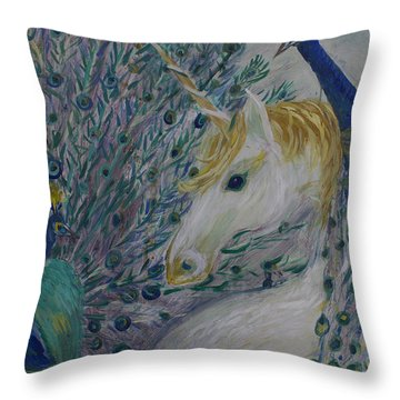 Peacocks With Unicorn Throw Pillow