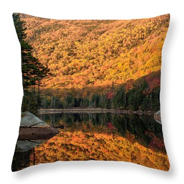 Throw Pillow featuring the photograph Peak Fall Foliage On Beaver Pond by Jeff Folger