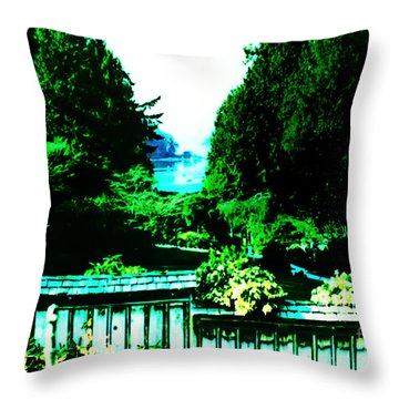 Peaking At Gorge Waterway Victoria British Columbia Throw Pillow