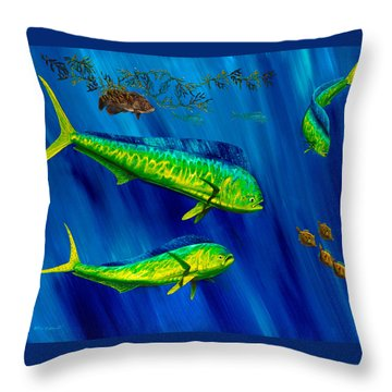Throw Pillow featuring the painting Peanut Gallery by Steve Ozment