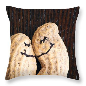 Peanuts In Love Throw Pillow by Sharon Dominick