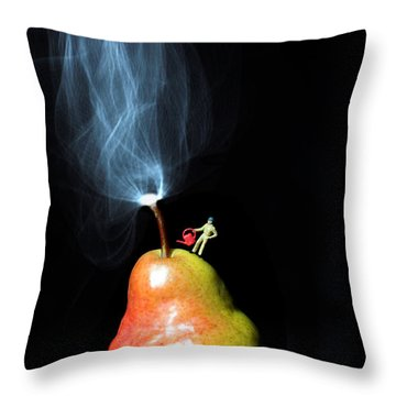 Pear And Smoke Little People On Food Throw Pillow
