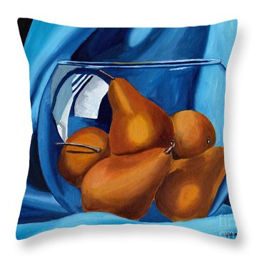 Throw Pillow featuring the painting Pear Anyone by Laura Forde
