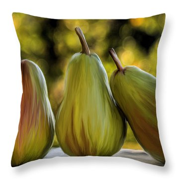 Pear Buddies Throw Pillow