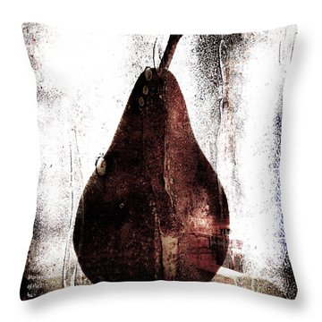 Pear In Window Throw Pillow by Carol Leigh