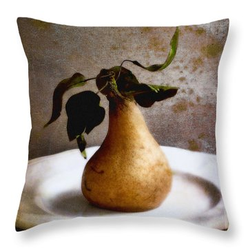 Pear On A White Plate Throw Pillow by Louise Kumpf
