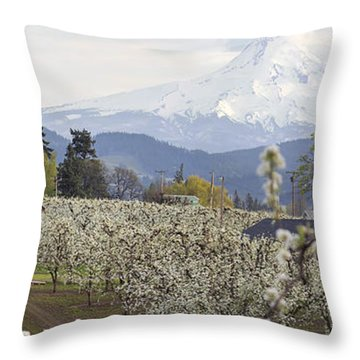 Pear Tree Orchard In Hood River Oregon Throw Pillow