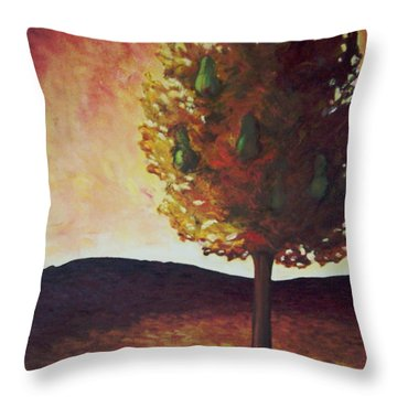 Pear Tree Throw Pillow by Samantha Black